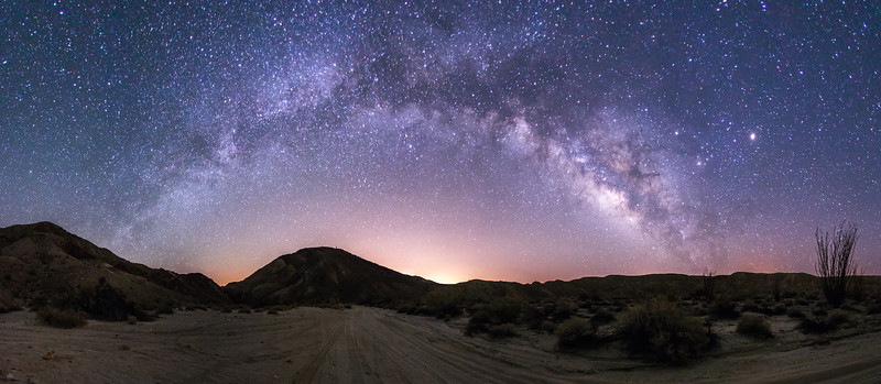Panorama of the Milky Way over Canyon Sin Nombre in Anza-Borrego Desert State Park