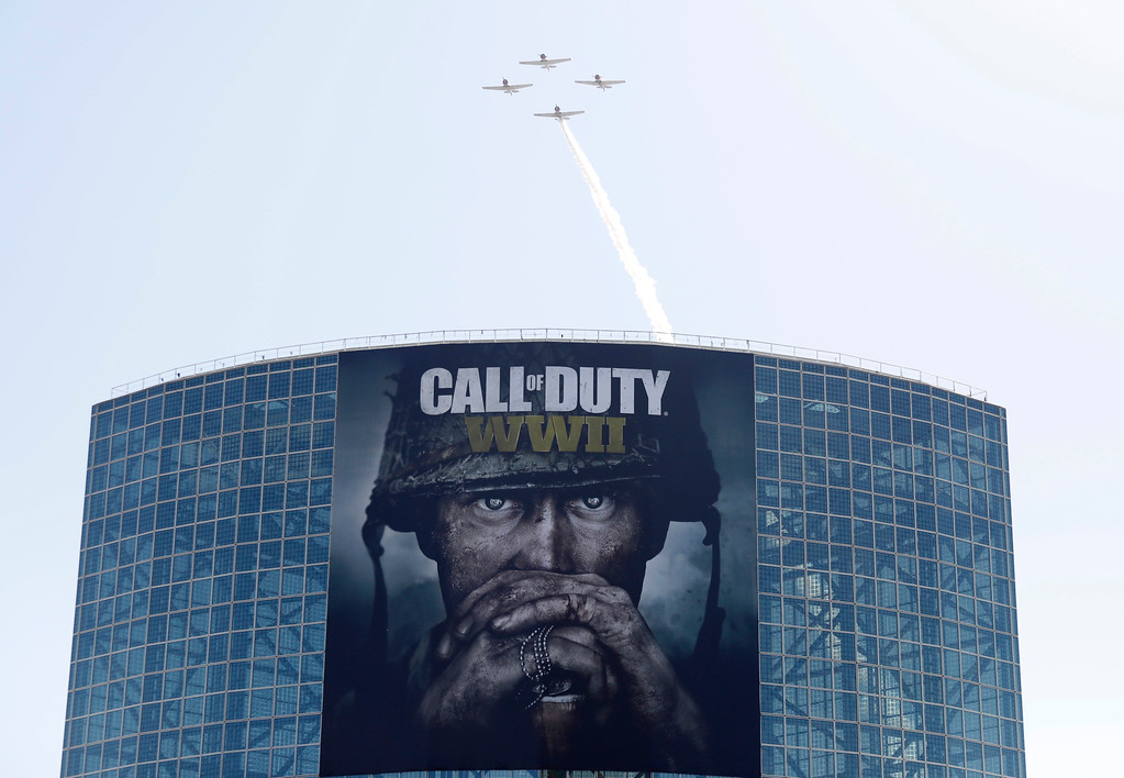 ". IMAGE DISTRIBUTED FOR ACTIVISION - An aerial flyby show over Los Angeles for Activision\'s upcoming blockbuster, ""Call of Duty: WWII\"" during E3 2017 at the Los Angeles Convention Center on Tuesday, June 13, 2017, in Los Angeles. (Photo by Colin Young-Wolff/Invision for Activision/AP Images)"