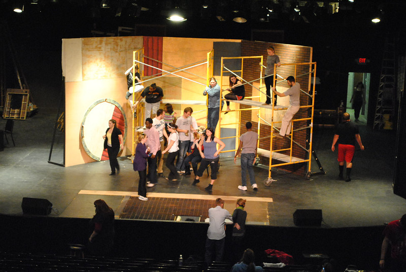 2-1-13: Cast members of the musical, Urinetown, rehearse.