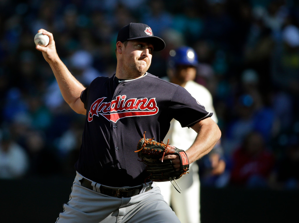 . Cleveland Indians\' Bryan Shaw throws against the Seattle Mariners in the eighth inning of a baseball game, Sunday, Sept. 24, 2017, in Seattle. (AP Photo/Ted S. Warren)