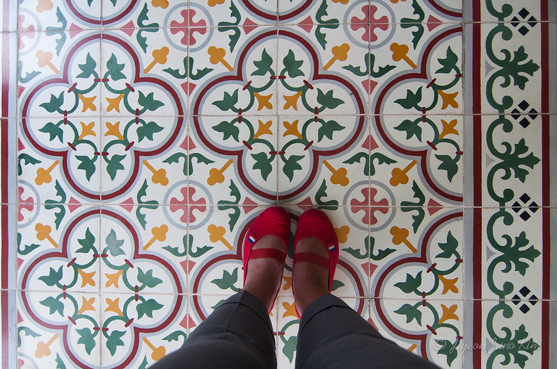 Floor tiles at Sultan's Palace in Yogyakarta (Jogjakarta), Indonesia