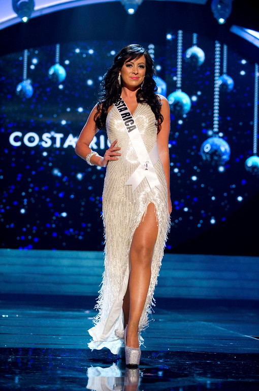. Miss Costa Rica 2012 Nazareth Cascante competes in an evening gown of her choice during the Evening Gown Competition of the 2012 Miss Universe Presentation Show in Las Vegas, Nevada, December 13, 2012. The Miss Universe 2012 pageant will be held on December 19 at the Planet Hollywood Resort and Casino in Las Vegas. REUTERS/Darren Decker/Miss Universe Organization L.P/Handout