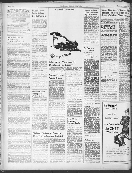 Daily Trojan, Vol. 30, No. 25, October 20, 1938
