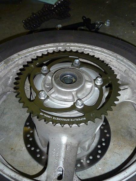 rear sprocket on rear wheel.