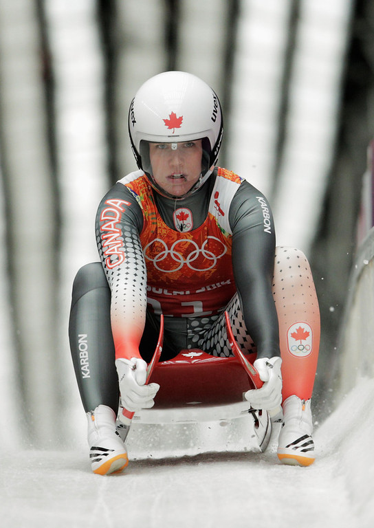 . Alex Gough of Canada finishes a run during the Luge Relay on Day 6 of the Sochi 2014 Winter Olympics at Sliding Center Sanki on February 13, 2014 in Sochi, Russia.  (Photo by Adam Pretty/Getty Images)