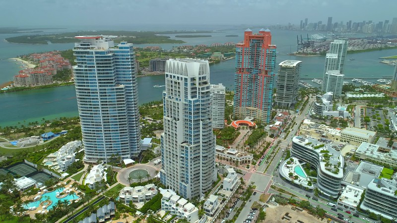Aerial Miami Beach scenic architecture and waterfront harbor port 4k 24p