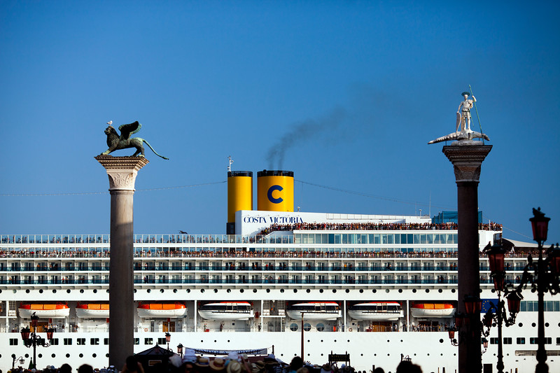 A liner passing by in front of the Piazzetta, Venice, Italy