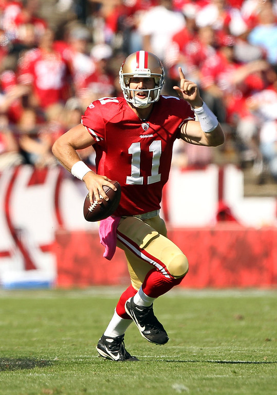 . Alex Smith, Utah Selected first overall by the 49ers in 2005 After several mediocre years bouncing between starter and backup, Smith burst out in 2011, quarterbacking the 49ers to a 13-3 record and an appearance in the NFC Championship season. Smith was on his way to a career year in 2012, too, when he was injured during a Week 10 game against the Cardinals. Colin Kaepernick won the starting job while Smith was sidelined, and led the 49ers to an appearance in the Super Bowl. San Francisco dealt Smith to the Chiefs in the offseason. GRADE: Incomplete. Yeah, he�s been around a while, but we�ll learn much more when he�s thrust into the starting role on a perennial loser in the AFC West. (Photo by Ezra Shaw/Getty Images)