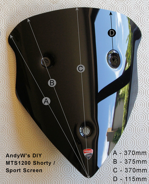 8/11 - AndyW's DIY shorty dark Multistrada 1200 screen. Measurements / dimmensions  