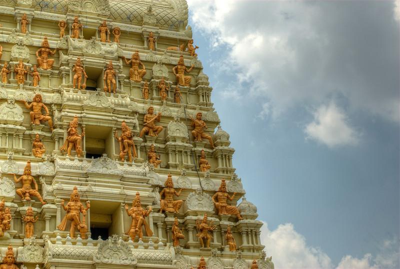 Hindu small statues at a pagoda in Singapore