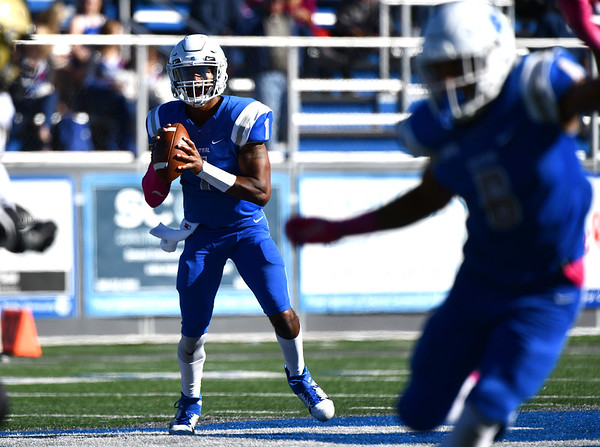 10/19/2019 Mike Orazzi | StaffrCentral Connecticut State University 's Aaron Winchester (1) during Saturday's football game with Bryant in New Britain.
