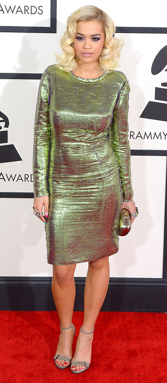 . Rita Ora arrives at the 56th Annual GRAMMY Awards at Staples Center in Los Angeles, California on Sunday January 26, 2014 (Photo by David Crane / Los Angeles Daily News)