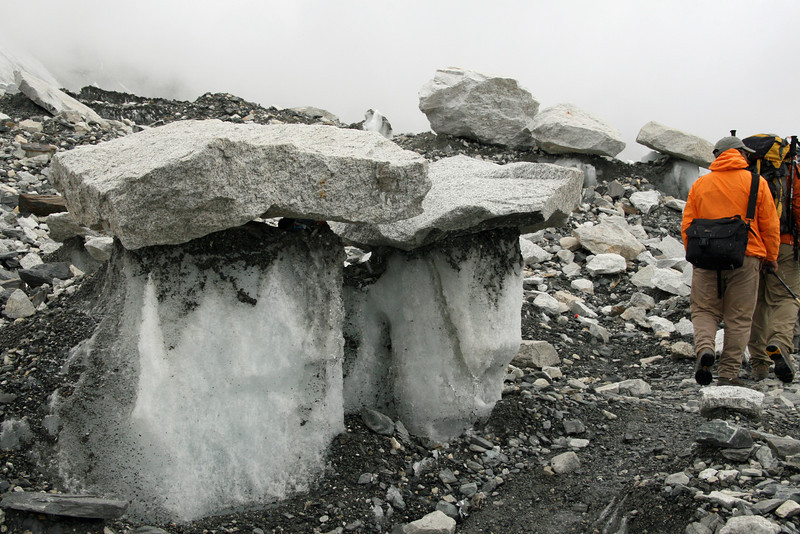 Rocks suppports by ice pillars