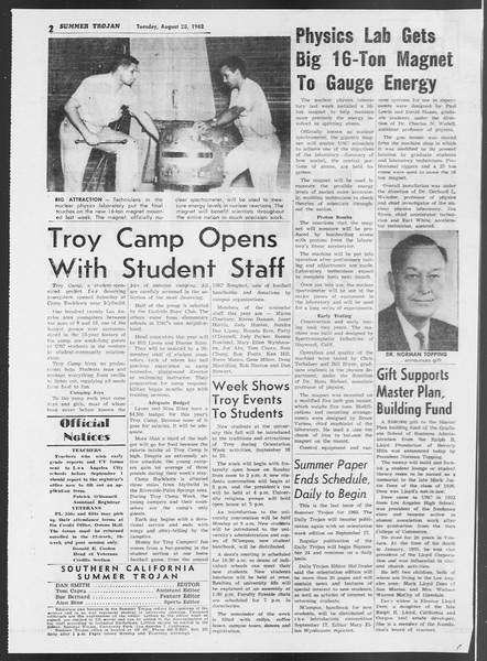 Summer Trojan, Vol. 12, No. 15, August 28, 1962