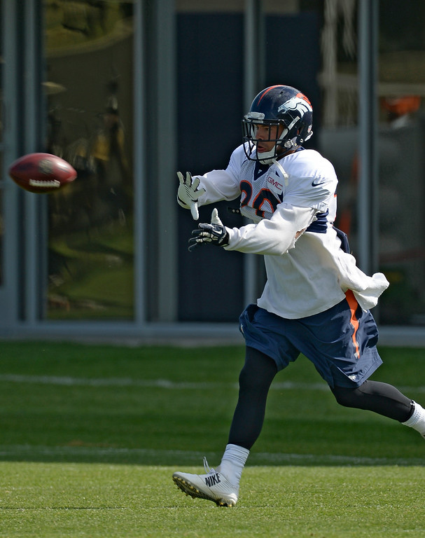 . Denver Broncos strong safety John Boyett (20) runs through drills on day 12 of the Denver Broncos 2014 training camp August 5, 2014 at Dove Valley. (Photo by John Leyba/The Denver Post)