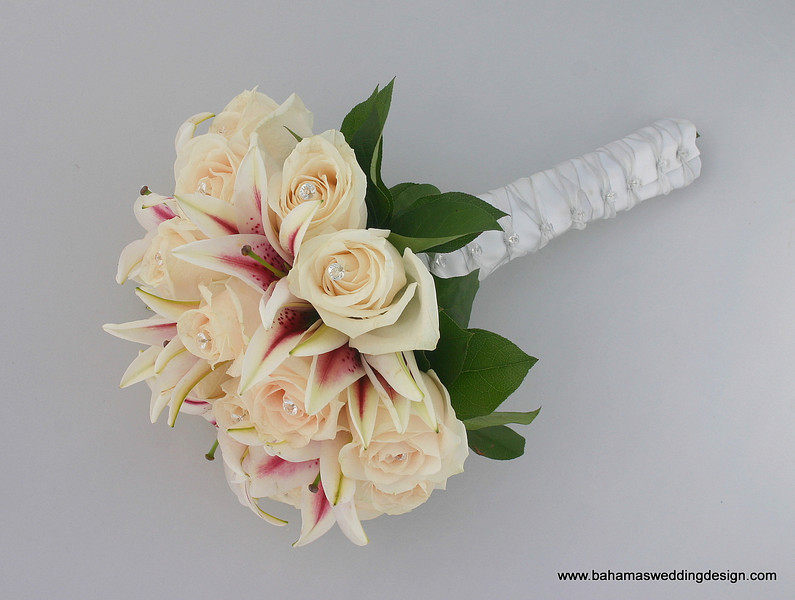 Bouquet - Stargazer Lilies and Ivory Roses