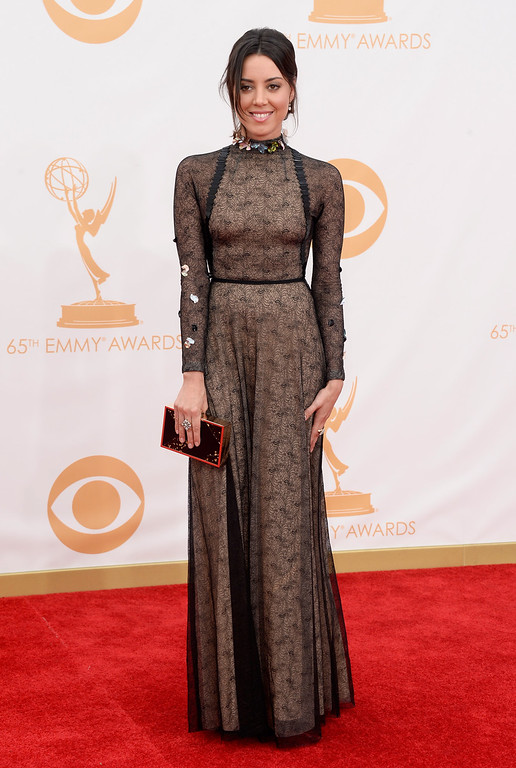 . Actress Aubrey Plaza arrives at the 65th Annual Primetime Emmy Awards held at Nokia Theatre L.A. Live on September 22, 2013 in Los Angeles, California.  (Photo by Frazer Harrison/Getty Images)