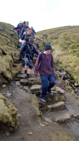 Descent from Ingleborough. The team in disciplined formation, as befitting their status as elite vegan athletes.