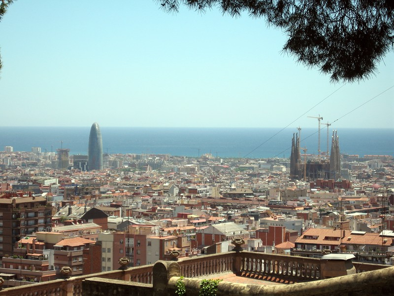 View of Barcelona from Park Güell, including the Torre Agbar (l) and the Sagrada Familia (r)