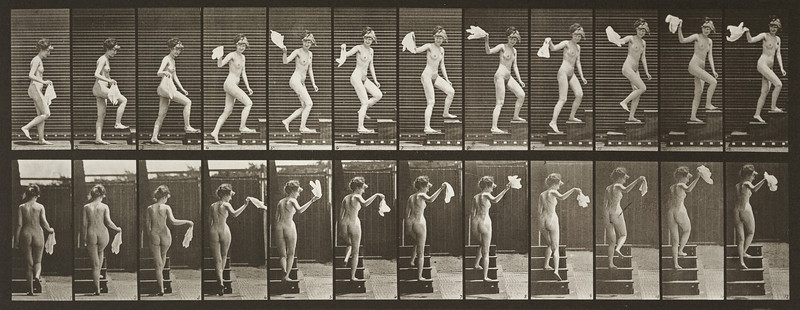 Nude woman ascending stairs, looking round and waving a handkerchief (Animal Locomotion, 1887, plate 96)