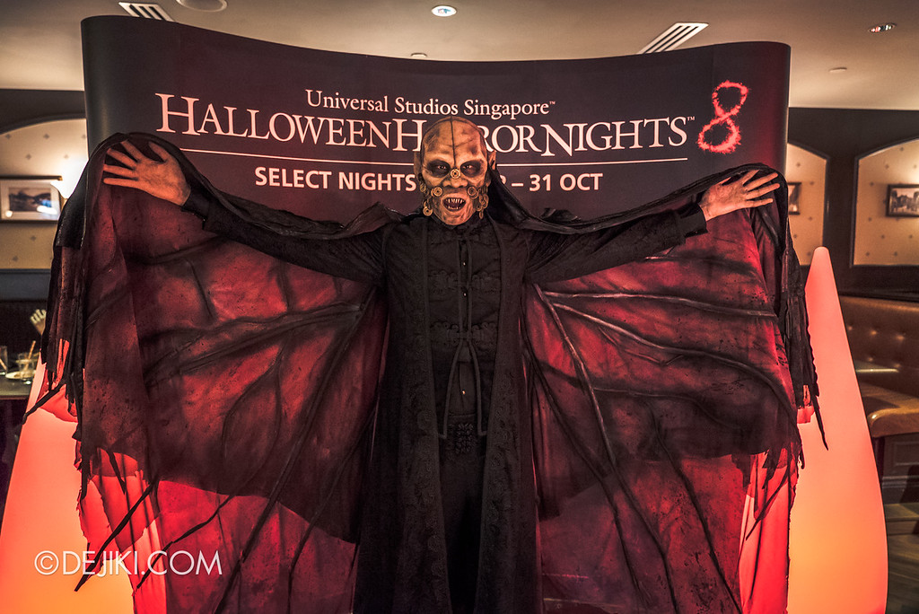 Halloween Horror Nights 8 Press Conference - Killuminati Haunted House icon - Lu Xi Fa with wings spread