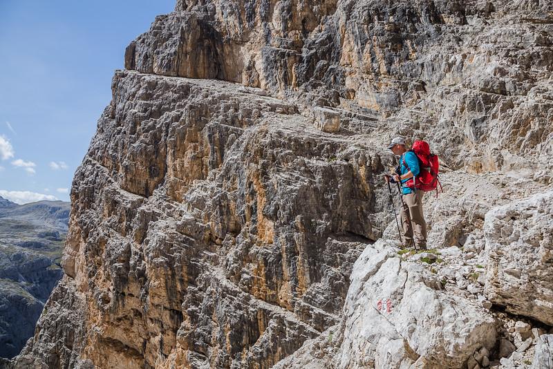 David Stock hiking in the Dolomites