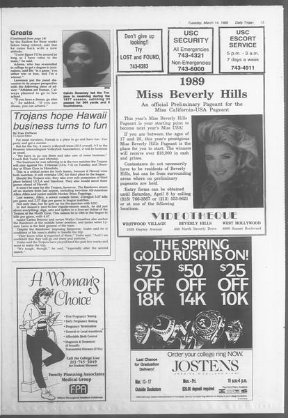 Daily Trojan, Vol. 108, No. 41, March 14, 1989