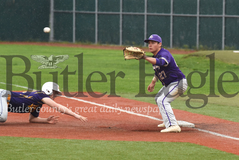 Karns City first baseman Josh Wimer attempts to catch a runner off base in Thursday's win over North Clarion. Seb Foltz/Butler Eagle