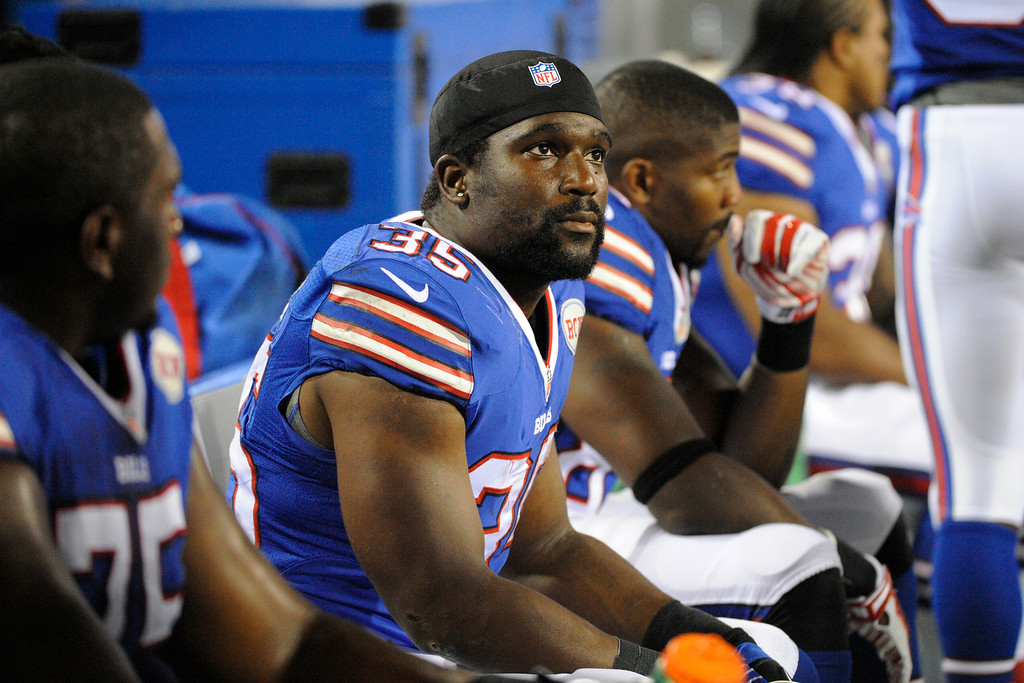 . Buffalo Bills running back Bryce Brown (35) sits on the bench during the second half of a preseason NFL football game against the Detroit Lions, Thursday, Aug. 28, 2014, in Orchard Park, N.Y. (AP Photo/Gary Wiepert)