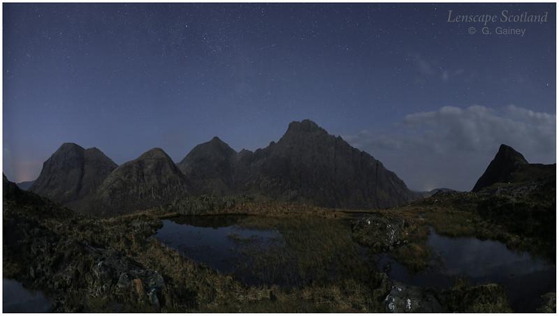 Marsco and Blabheinn from Druim Hain, Isle of Skye (night)