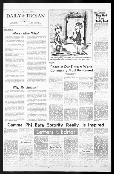 Daily Trojan, Vol. 57, No. 82, March 07, 1966