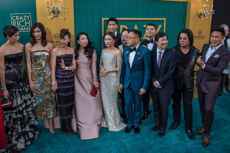 HOLLYWOOD, CA - AUGUST 07: Nina Jacobson, Sonoya Mizuno, Gemma Chan, Michelle Yeoh, Awkwafina, Constance Wu, Chris Pang, Nico Santos, Ronny Chieng, Kevin Kwan, Ken Jeong and Jon M. Chu arrive at Warner Bros. Pictures' 'Crazy Rich Asians' Premiere at TCL Chinese Theatre IMAX on Tuesday, August 7, 2018 in Hollywood, California. (Photo by Tom Sorensen/Moovieboy Pictures)