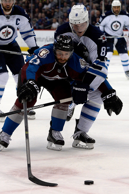 . Jacob Trouba (8) of the Winnipeg Jets defends Maxime Talbot (25) of the Colorado Avalanche during the Avs\' 3-2 win. (Photo by AAron Ontiveroz/The Denver Post)