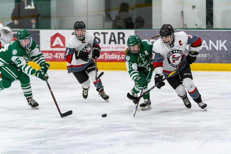 Holy Family's Lauren Hickey '20 (15) and Sydney Paulsen '20 (2) vs. Eden Prairie at Braemar Arena - Collin Nawrocki/The Phoenix