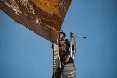Grafton water tower being taken down