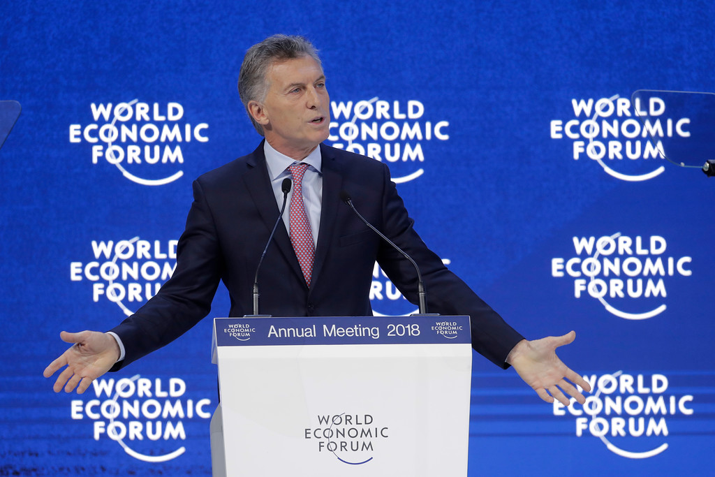 . Mauricio Macri, President of Argentina and Chair of the G20, gives an outlook on the 2018 G20 Agenda during the annual meeting of the World Economic Forum in Davos, Switzerland, Thursday, Jan. 25, 2018. (AP Photo/Markus Schreiber)