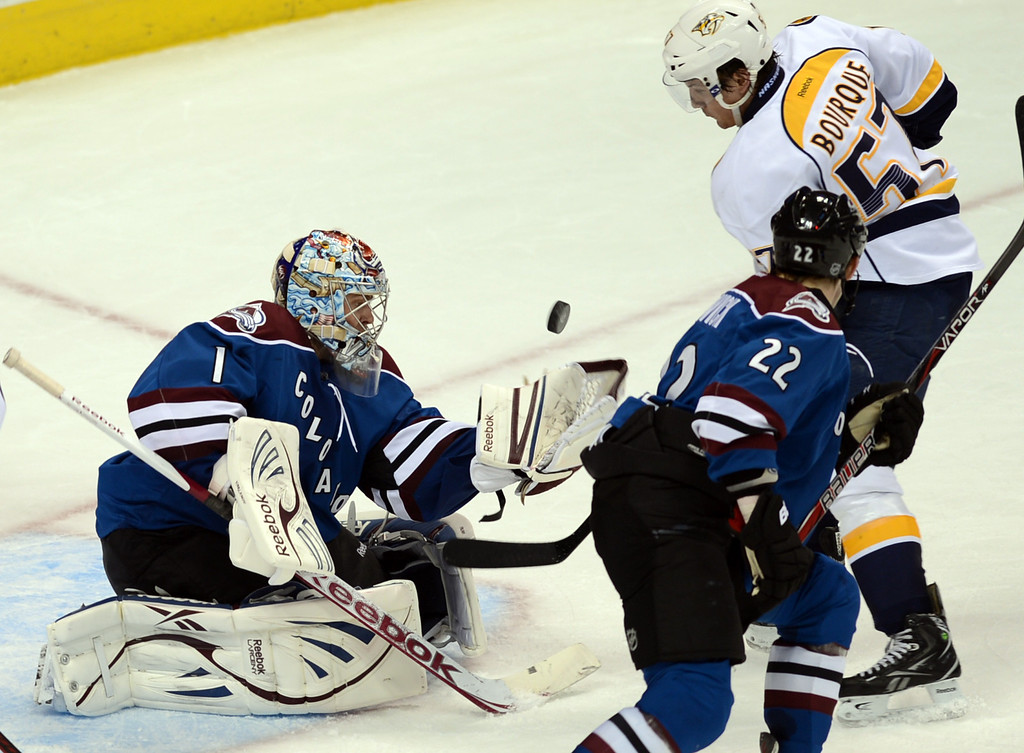 . Colorado Avalanche goalie Semyon Varlamov (#1), left, saves the goal from Gabriel Bourque of Nashville Predators (#57) by Matt Hunwick of Avalanche (#22) in the 2nd period of the game at Pepsi Center. Denver, Colorado. March 30, 2013. (Photo By Hyoung Chang/The Denver Post)