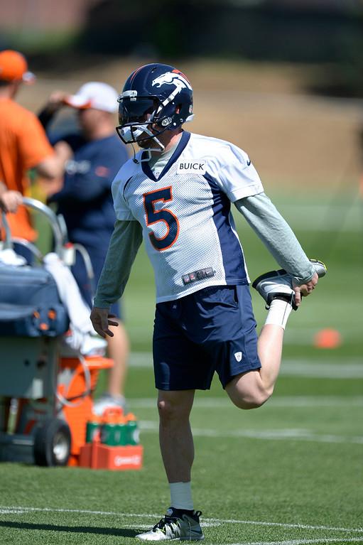 . Denver Broncos Matt Prater (5) stretches during OTAs June 10, 2014 at Dove Valley. (Photo by John Leyba/The Denver Post)