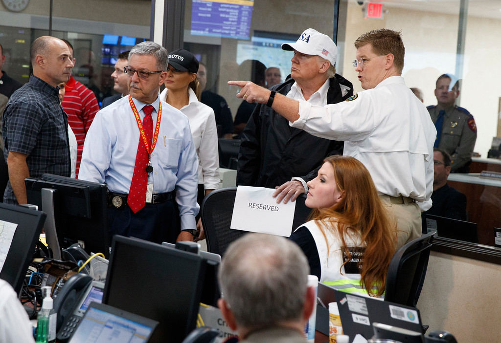 . President Donald Trump and first lady Melania Trump tour of the Texas Department of Public Safety Emergency Operations Center, Tuesday, Aug. 29, 2017, in Austin, Texas. (AP Photo/Evan Vucci)
