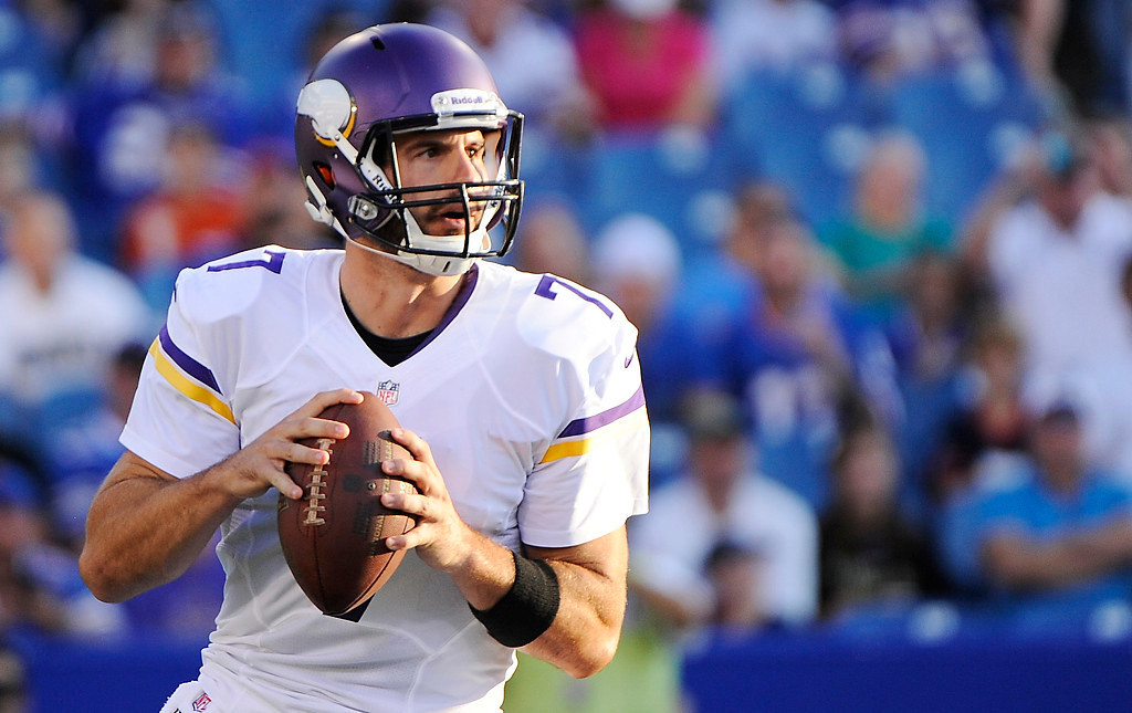 . Minnesota Vikings quarterback Christian Ponder (7) drops back to pass during the first half of an NFL preseason football game against the Buffalo Bills Friday, Aug. 16, 2013, in Orchard Park, N.Y.  (AP Photo/Gary Wiepert)