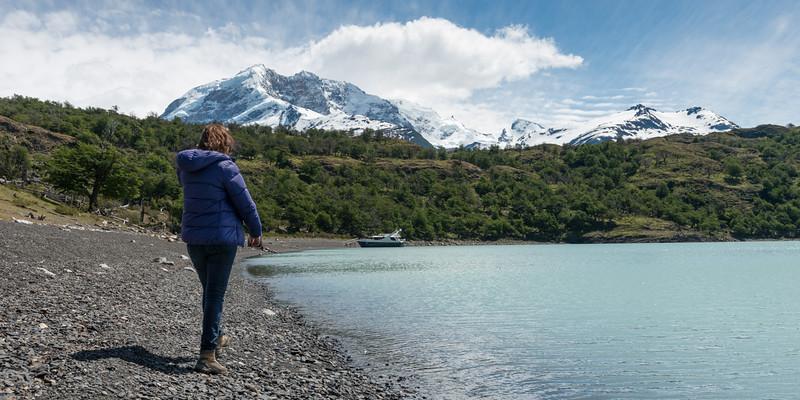 Woman standing at Lake Argentino, Santa Cruz Province, Patagonia, Argentina