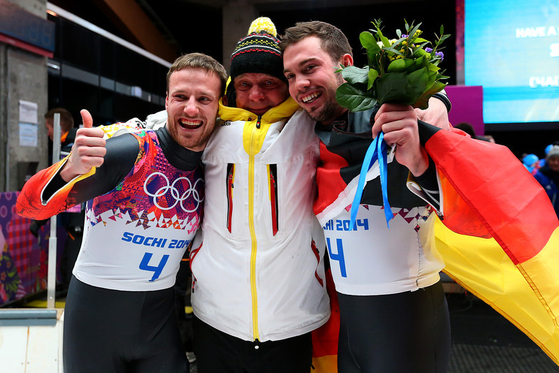 . Tobias Wendl (R) and Tobias Arlt (L) of Germany celebrate after winning the gold medal during the Men\'s Luge Doubles on Day 5 of the Sochi 2014 Winter Olympics at Sliding Center Sanki on February 12, 2014 in Sochi, Russia.  (Photo by Alex Livesey/Getty Images)
