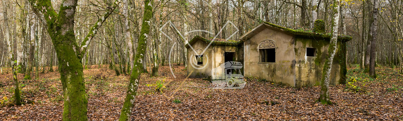 Concrete buidlings in the forest at Camp Marguerre, world war I site near Verdun