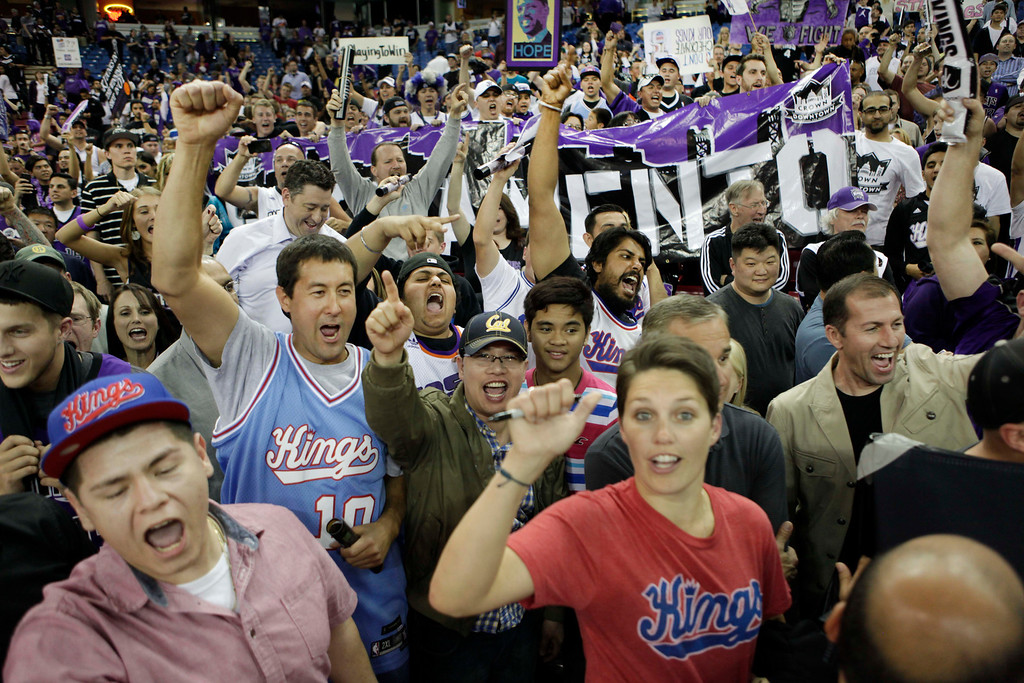 . Sacramento Kings fans rally in support for the team to remain in Sacramento after their game against the Los Angeles Clippers in Sacramento, Calif., on April 17, 2013.(AP Photo/Steve Yeater)