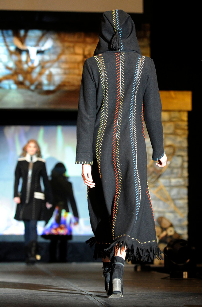 Description of . Back view of a Sabine Sommeregger coat,  as the SIA Snow Show hosted its 2013 Snow Fashion & Trends Show at the Colorado Convention Center  in downtown Denver  on Wednesday, January 30, 2013.  (Photo By Cyrus McCrimmon / The Denver Post)