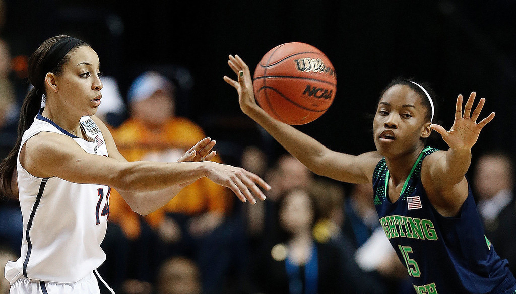 . Connecticut guard Bria Hartley (14) passes the ball as Notre Dame guard Lindsay Allen (15) looks on during the second half of the championship game in the Final Four of the NCAA women\'s college basketball tournament, Tuesday, April 8, 2014, in Nashville, Tenn. (AP Photo/Mark Humphrey)