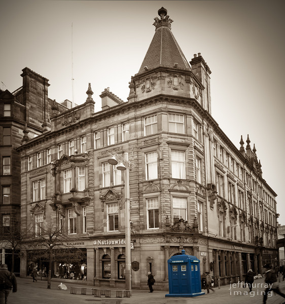 This old Police Box is a coffee shop at times in Buchanan Street.  Right now it is closed.  On two or three occasions I have seen a person peeking out offering coffee for sale.  Maybe Dr Who moonlights?  Perhaps his secret job at Starbucks funds his other life as a genius and time traveller.