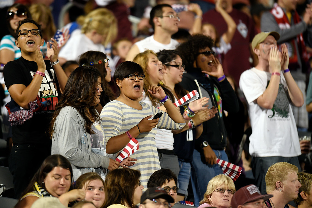 . A sold-out crowd of Rapids fans cheers during an MLS match between the Colorado Rapids and the Columbus Crew at Dick\'s Sporting Goods Park on July 4, 2014, in Commerce City, Colorado. (Photo by Daniel Petty/The Denver Post)