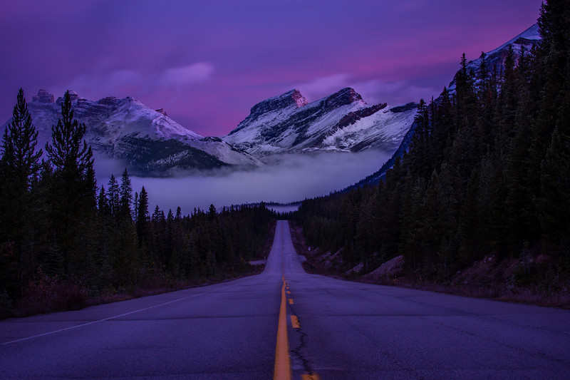 Twilight and sunrise are always the best times to explore the Icefield Parkways, long before the daytime crowds arrive.