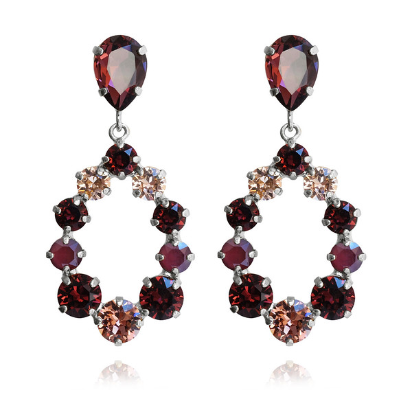 Delia Earrings / Burgundy + Rose Blush / Rhodium